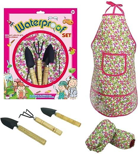 Jardín Juego de herramientas jardín trabajo – Set para la guardería trabajo Herramientas con guantes y bolsa para herramientas jardín Regalos Jardín accesorios: Amazon.es: Bebé