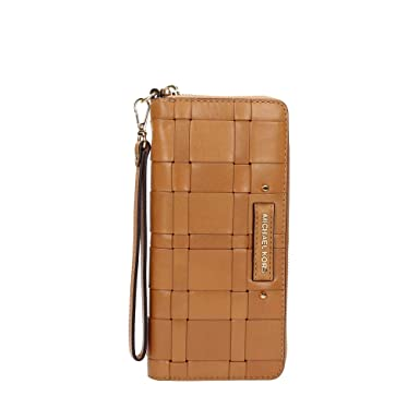 f3bbe6de36df Image Unavailable. Image not available for. Color  Michael Kors - Vivian  Leather Woven Continental Wallet - Peanut