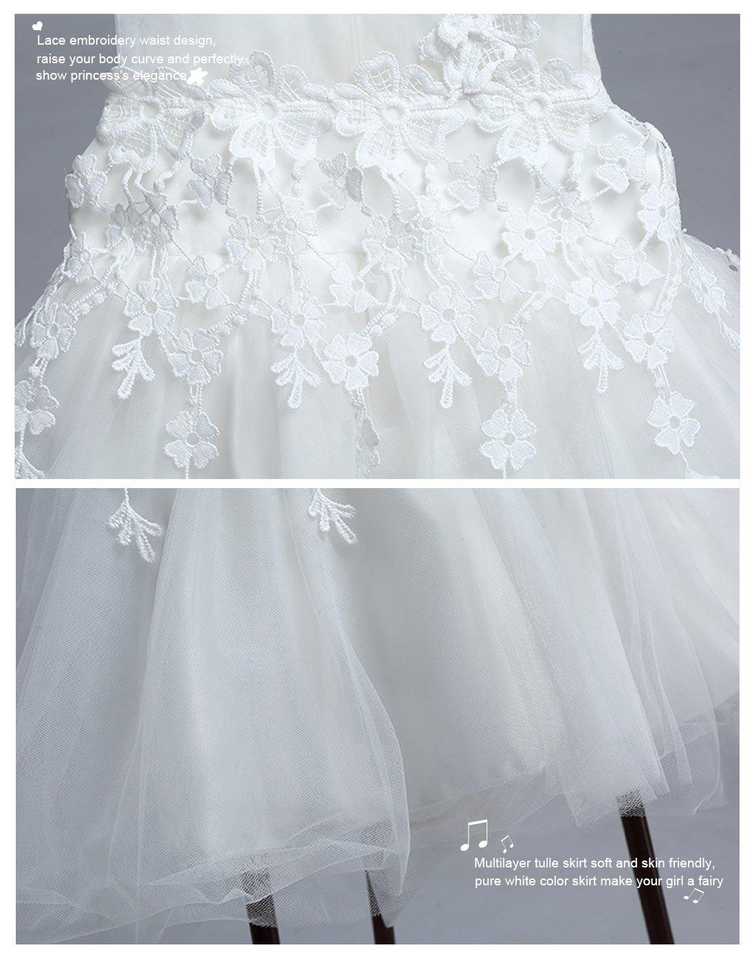 Happy Cherry Baby M/ädchen Taufkleidung mit Hut Hochzeitkleid Festzug Prinzessin Kleid Partykleid Blumenm/ädchenkleid Geburtstagfeier Multi Layer T/üll Kleid