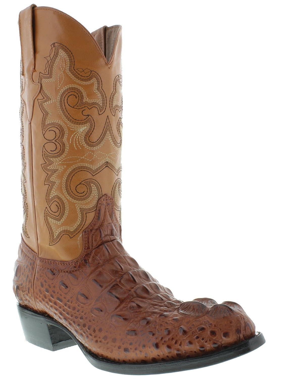 Men's Crocodile Alligator Head Lather Cowboy Western J Toe Boots Cognac