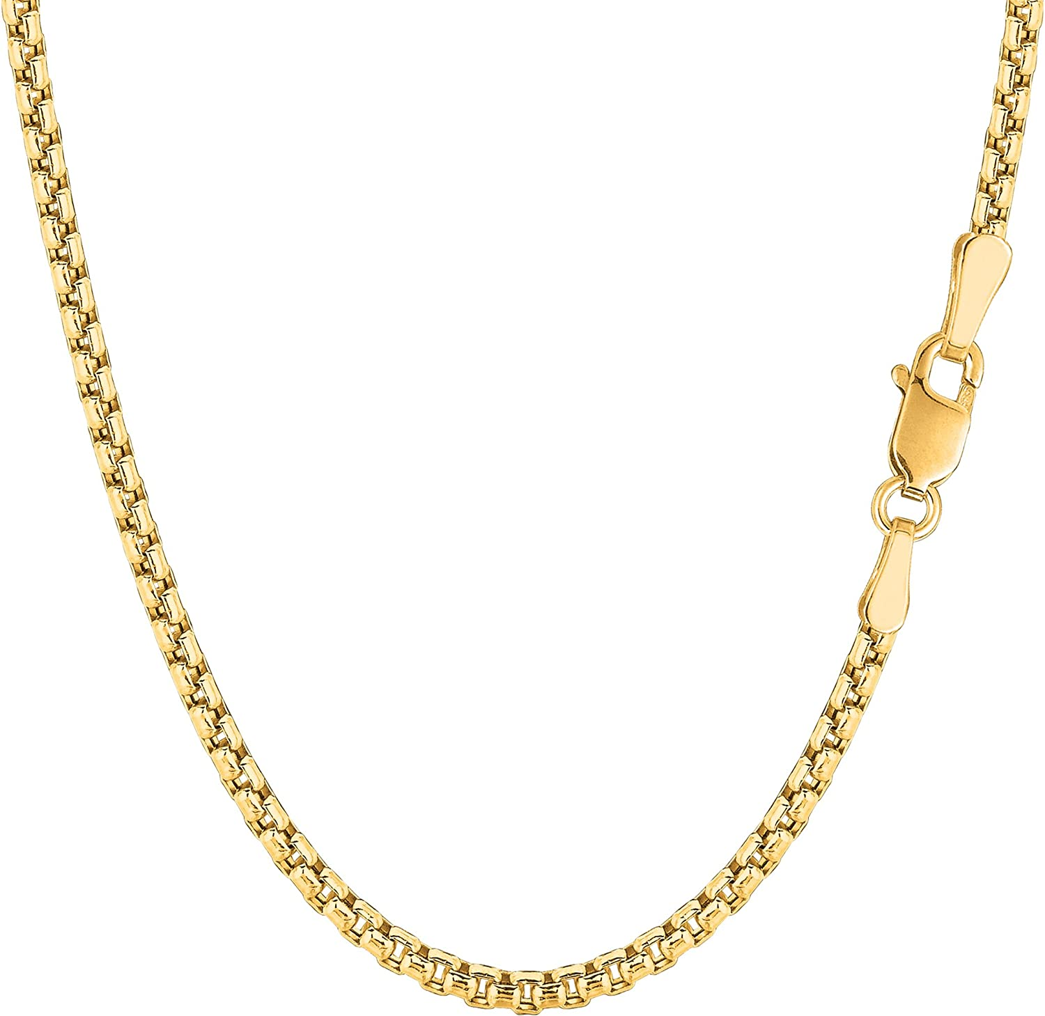 3.4mm Sale 14k YellowWhite Gold Round Box Link Necklace Pendant Chain 1.7mm 2.4mm
