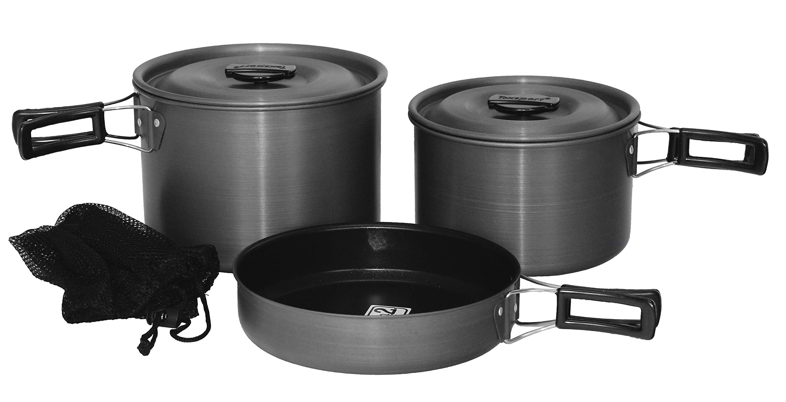 Texsport Trailblazer Black Ice 5 pc Hard Anodized Camping Cookware Outdoor Cook Set with Storage Bag by Texsport