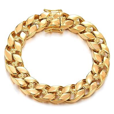 COOLSTEELANDBEYOND Couleur dor Acier Femme Cha/îne Maillons Bracelets de Cheville avec Noir Blanc Mauvais Oeil Protection Charmes