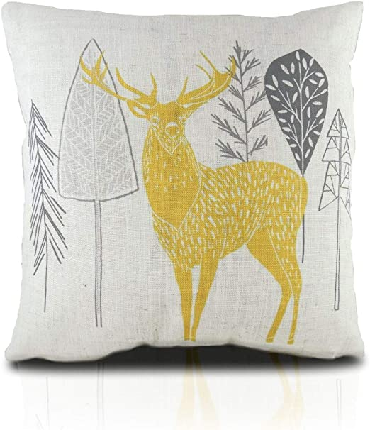 free delivery how to buy hot product RAVALI Skandi Design Ochre Yellow & Grey Deer Stag Woodland ...