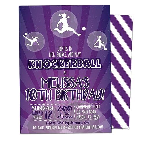 Amazon girl knockerball birthday invitations purple bubble ball girl knockerball birthday invitations purple bubble ball soccer party filmwisefo