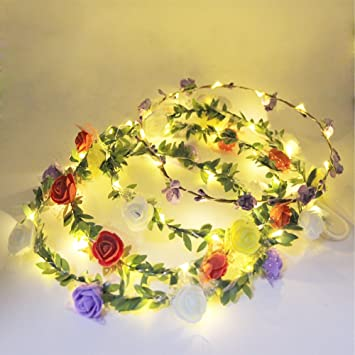 Amazon.com   eVmo Set of 4 LED Flower Wreath Headband - Crown Floral  Garland Bohemia for Festival Wedding Beach Park Party Child Headdress LE01    Beauty 7e05dd47ef4