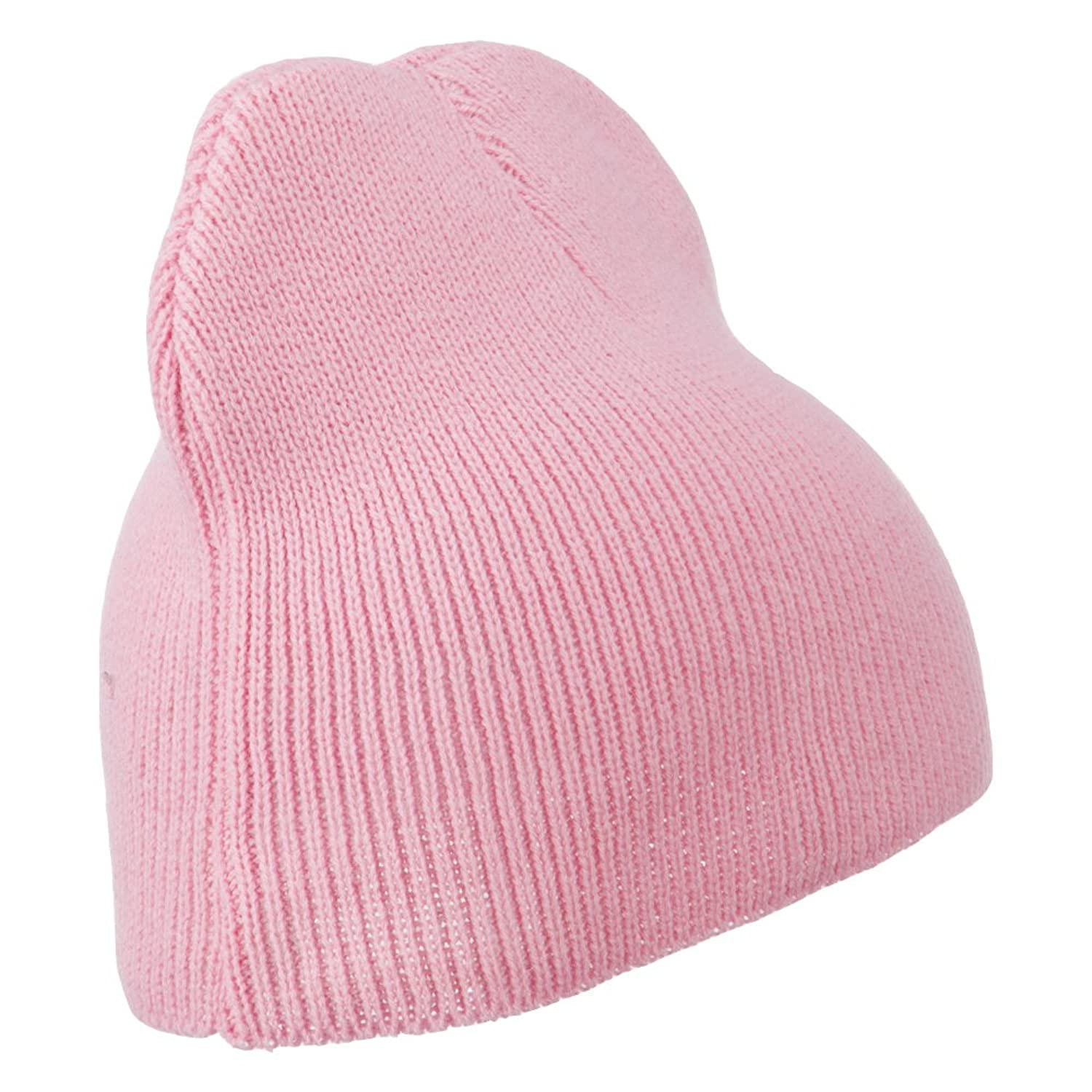 Acrylic Soft Knit Short Beanie - Pink