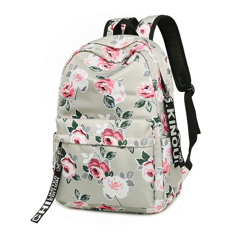 Meaningg Moda resistente al agua Nylon mochila flor impresión School Girls diario College Laptop Bagpack Azul: Amazon.es: Equipaje