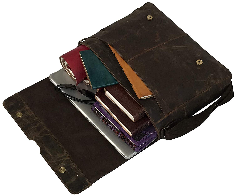 18'' Leather Messenger Bag Vintage Buffalo Satchel Laptop Briefcase Unisex Computer Bags for Men Women (Vintage Brown) by cuero (Image #3)