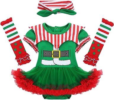 dPois Disfraz de Elfo Navidad para Bebé Niña Recién Nacido ...