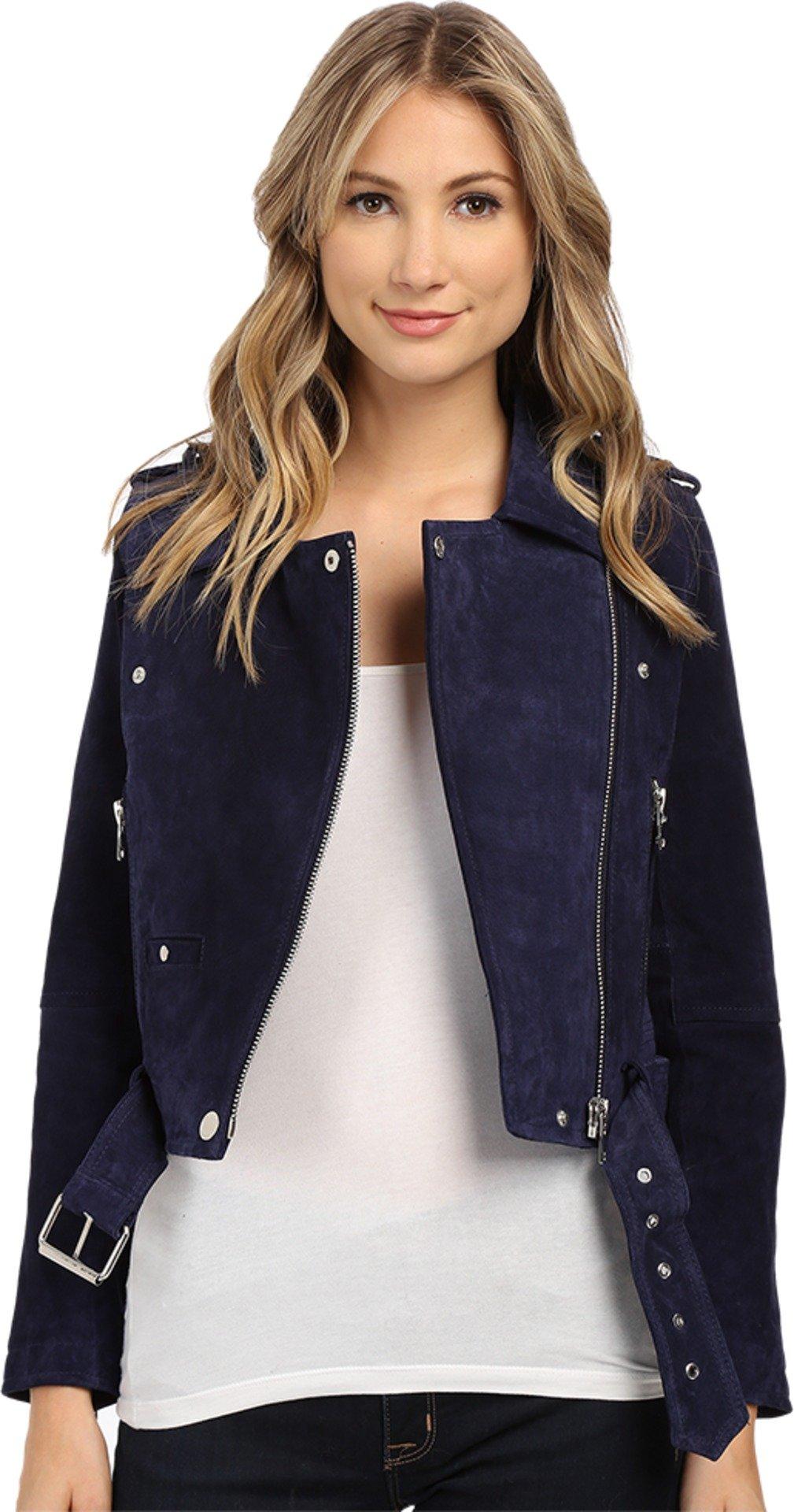Blank NYC Women's Blue Suede Moto Jacket in Deep Blue/Navy Deep Blue/Navy X-Small by [BLANKNYC]