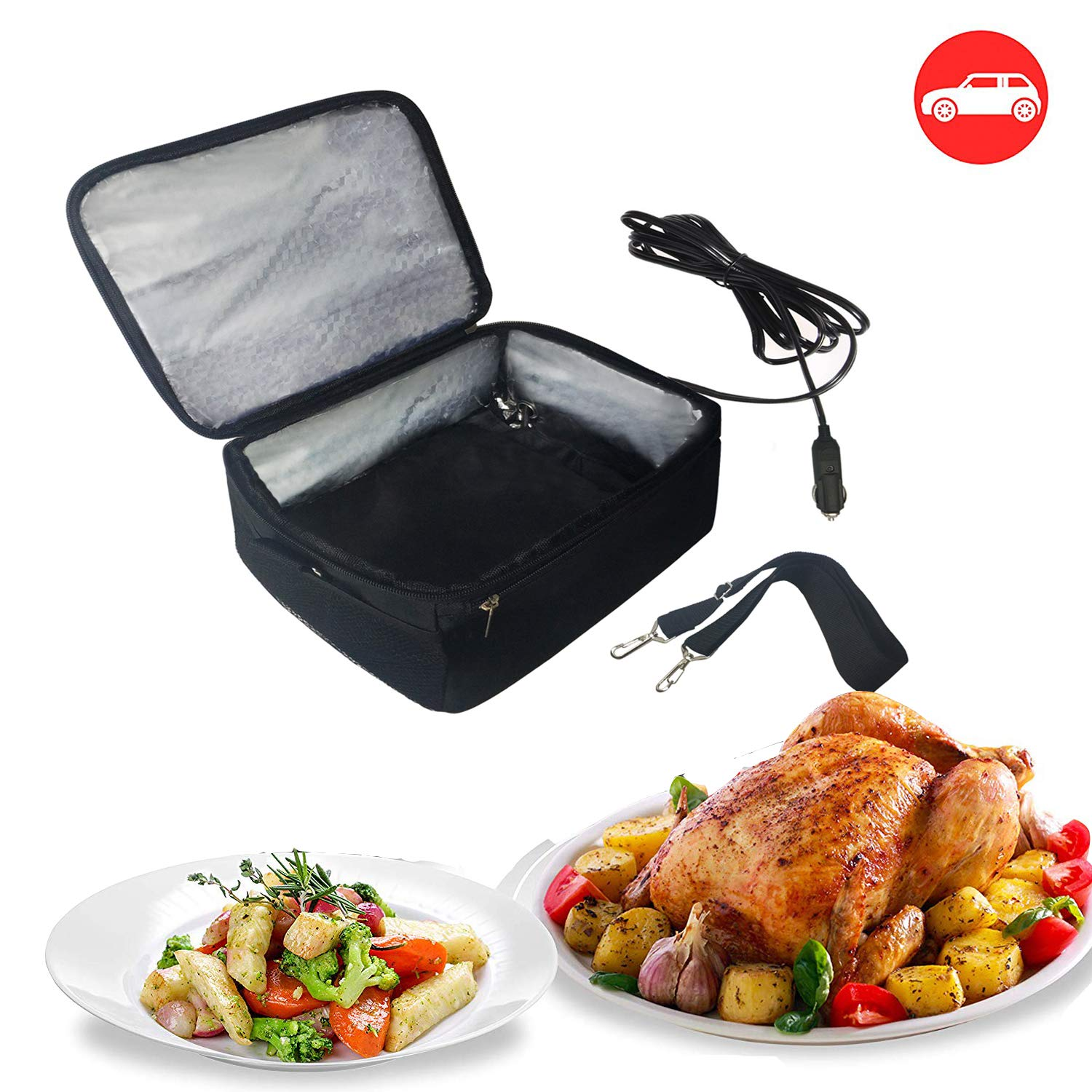 Portable Oven 12V Personal Food Warmer for Prepared Meals Lunch Warmer Reheating at work For Driving, Food Warmer with Lunch Bag for Car 12V (Black) by Alfredx