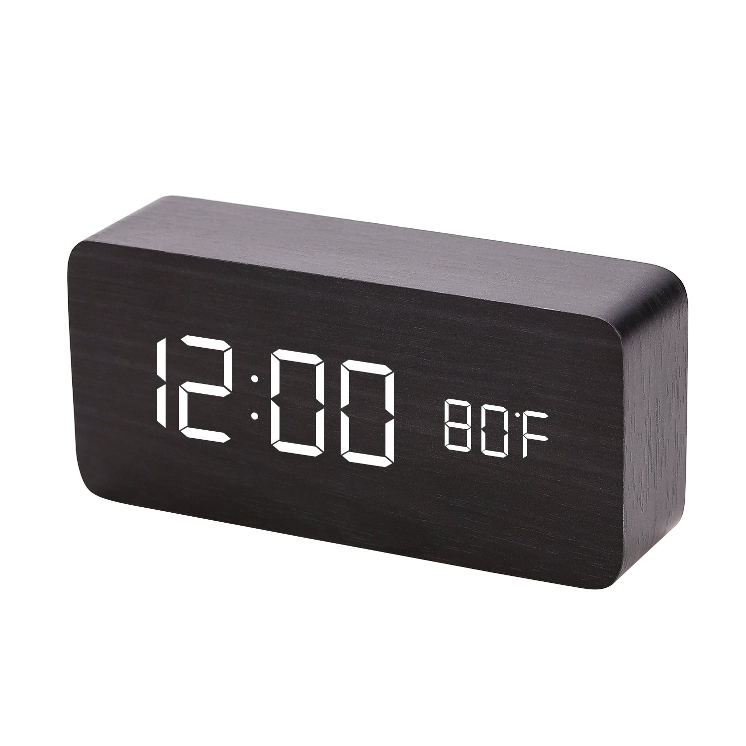 SULCMAG Modern Simplicity Wood Digital Clock with Three Alarm Sets & Date LED Display &3 Levels Brightness Voice Control for Home Bedroom Office .