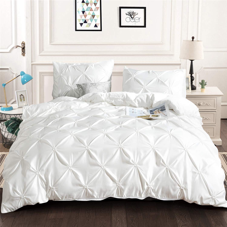 White Pintuck Comforter Set Queen, All Season Pinch Pleat Comforter with 2 Pillowcases, Luxury Hypoallergenic Microfiber Bedding Fill Duvet Insert (Queen Size, 3 Pieces)
