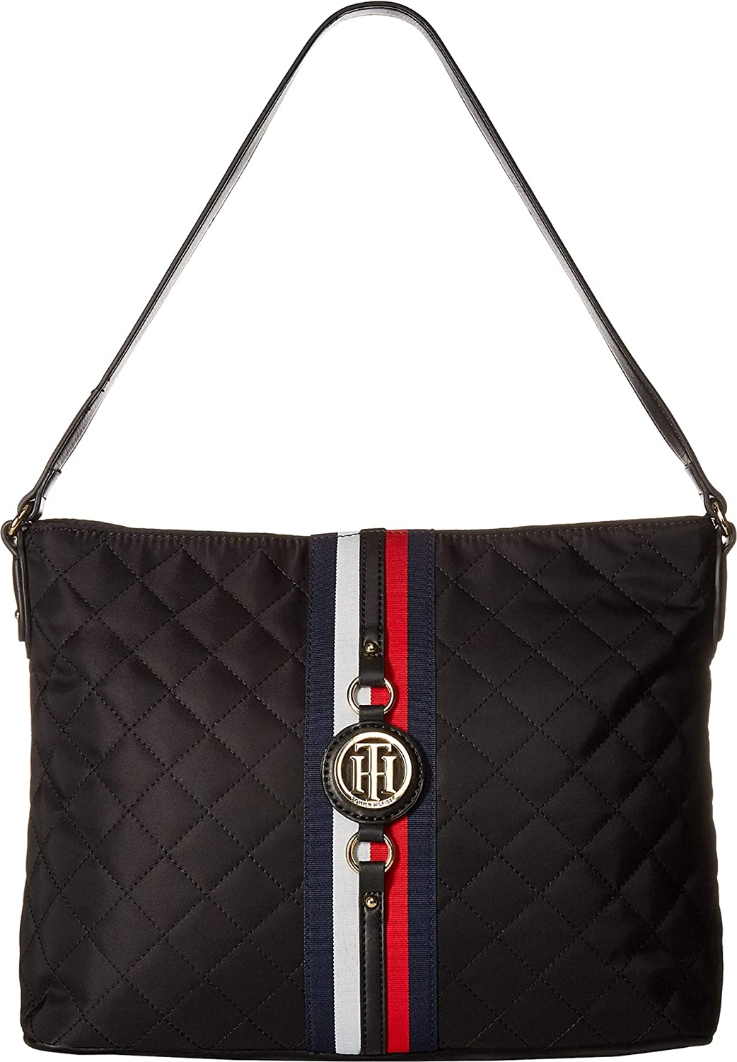 f62bdad9b6 Amazon.com: Tommy Hilfiger Women's Jaden Hobo Quilted Nylon Black One Size:  Shoes