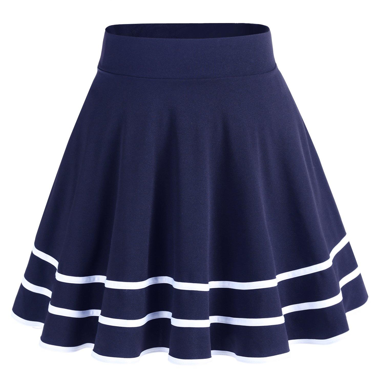 Dresstells Basic Solid Versatile Stretchy Flared Casual Mini Skirt