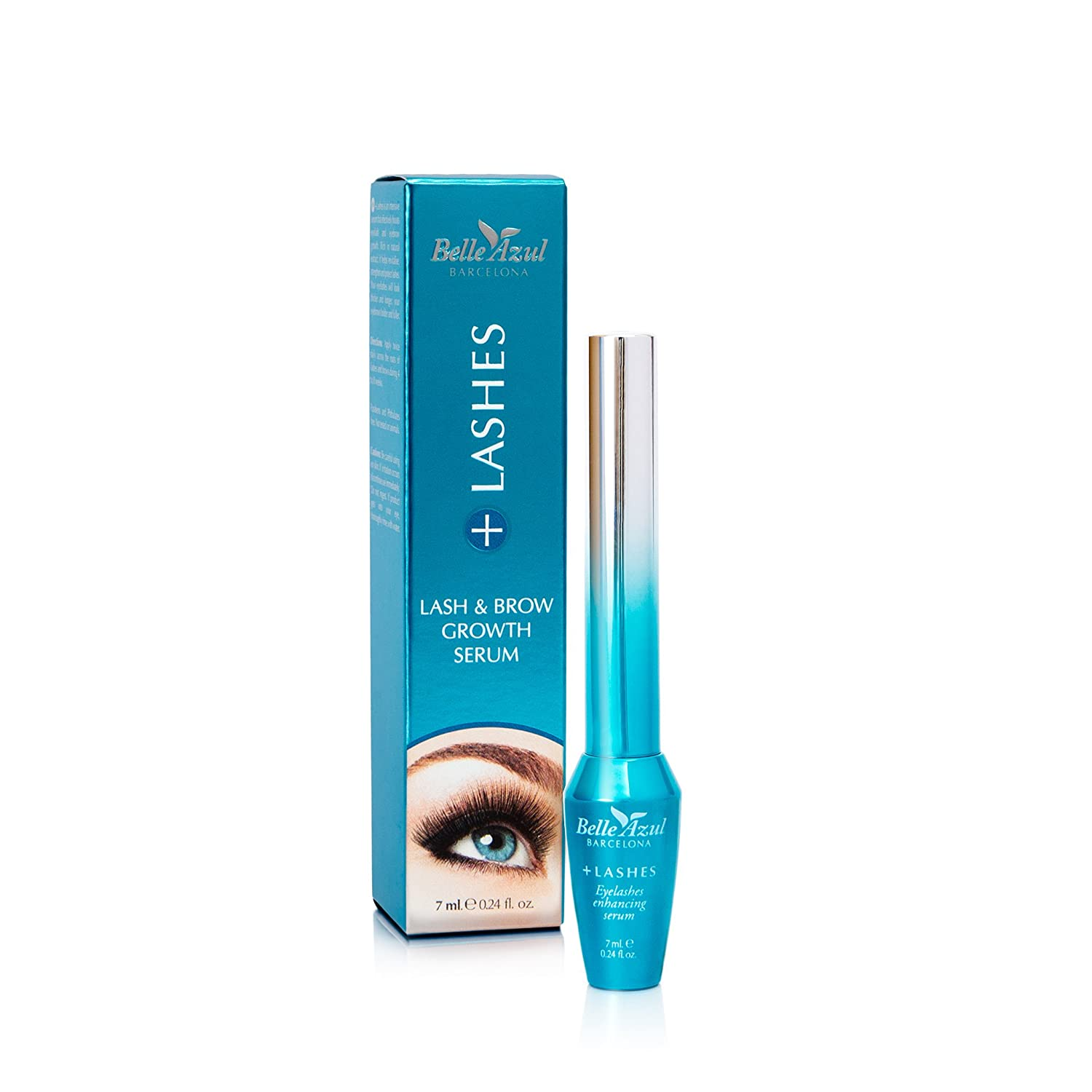 Belle Azul +Lashes Growth Serum (7ml) Longer, Thicker, Fuller Lashes & Enhanced Brows with Castor Oil. Conditioning Treatment that Nourishes & Protects. 7ml / 0.24 fl. oz Simon & Tom