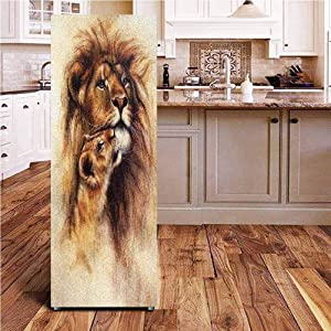 """Safari Decor 3D Door Wall Fridge Door Stickers Mural,Painting of Loving Lion and her baby Cub Snuggle Wildlife Nature Expression Safary Theme Image Wallpaper Murals Stickers for Refrigerator,24x70"""""""