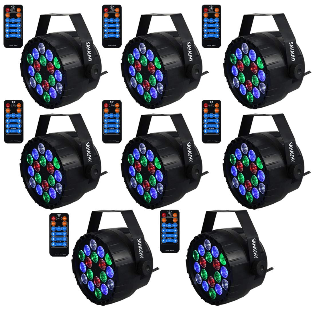 DJ Lights,SAHAUHY Professional Stage Light 8 Channels 9 Modes RGBW Mixed Effect Up Lights Sound Activated or DMX Control with Remote for Party Event Wedding Church(8Packs) by SAHAUHY