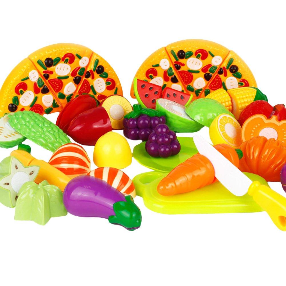 Amurleopard Jeu D'imitation Jeu de cuisine legumes fruits pizza a decouper