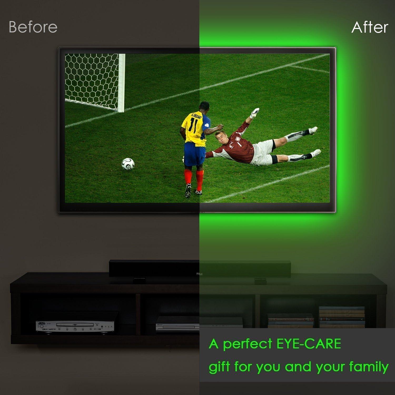 Fit 39 to 55 TV Waterproof 24Keys Dimmer Remote Controller RGB 5V USB Powered 5050 Bias Lighting Kit for Screen HDTV PC Monitor ACMENOVO LED Strip TV Backlight USB,