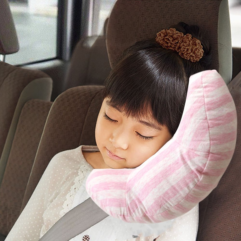 RSPrime Auto Cuscino Cuscini Arresto Cinture di Sicurezza Bambino Cintura Guanciale Proteggono Spalle Collo Comodo del Supporto del Cuscino Staccabile Spalla Protezione, Regolabile per Bambini Sicurezza (Rosa)