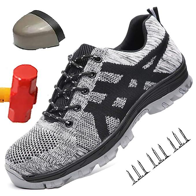 HOAPL Zapatos de Seguridad para Hombres con Punta de Acero Zapatos ...