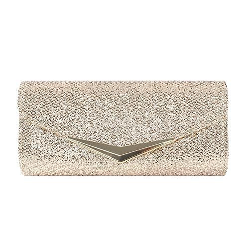 ClasiChic - Cartera de mano de Material Sintético para mujer dorado champán: Amazon.es: Zapatos y complementos