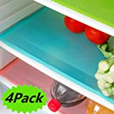 """4 Pack Refrigerator Mats, EVA Refrigerator Liners Washable Can Be Cut Refrigerator Pads Fridge Mats Drawer Table Placemats 17.7"""" x 11.8"""""""