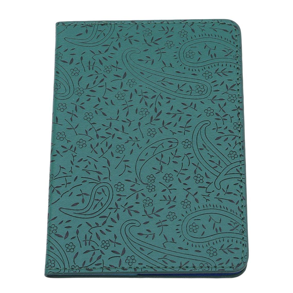 Rurah Cute Passport Holder Case Lavender Leather Passport Cover Holder Case Travel Card Wallet,Dark Green
