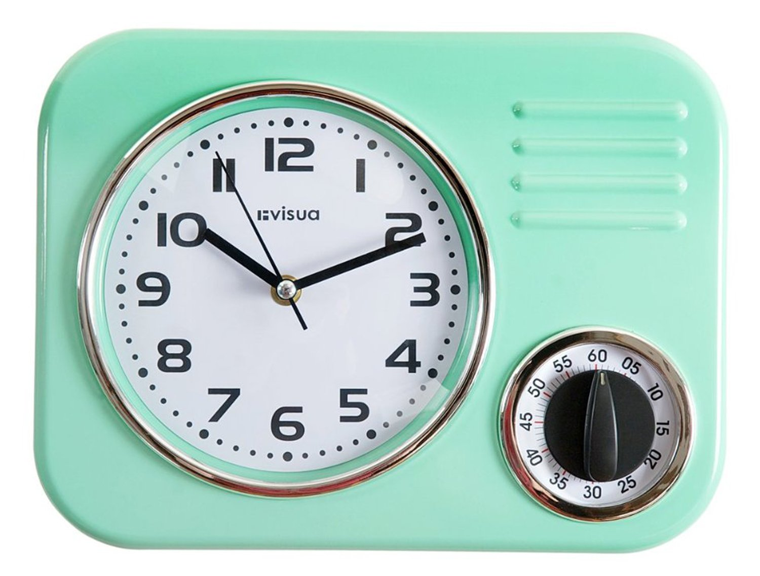 Visua Kira Retro Metal Kitchen Clock With Mechanical Timer, Lime Green:  Amazon.co.uk: Kitchen U0026 Home
