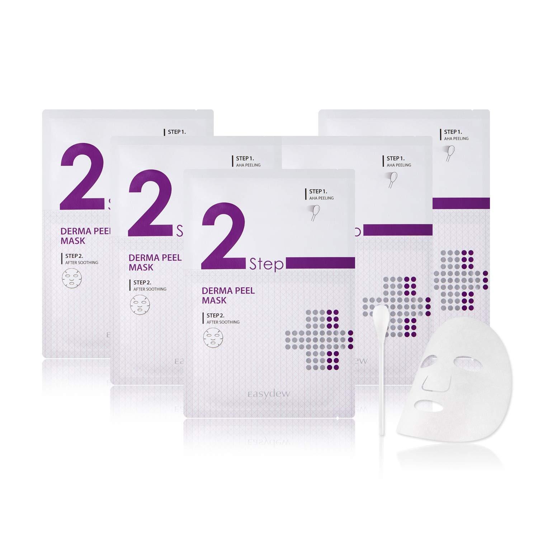Easydew 2-Step Drema Peel Sheet Mask - Award-Winning Korean Face Mask with DW-EGF, Hyaluronic Acid & AHA 9% for Gentle Exfoliating Skin, Peeling Dead Cells & Skin Calming (Qty 5)