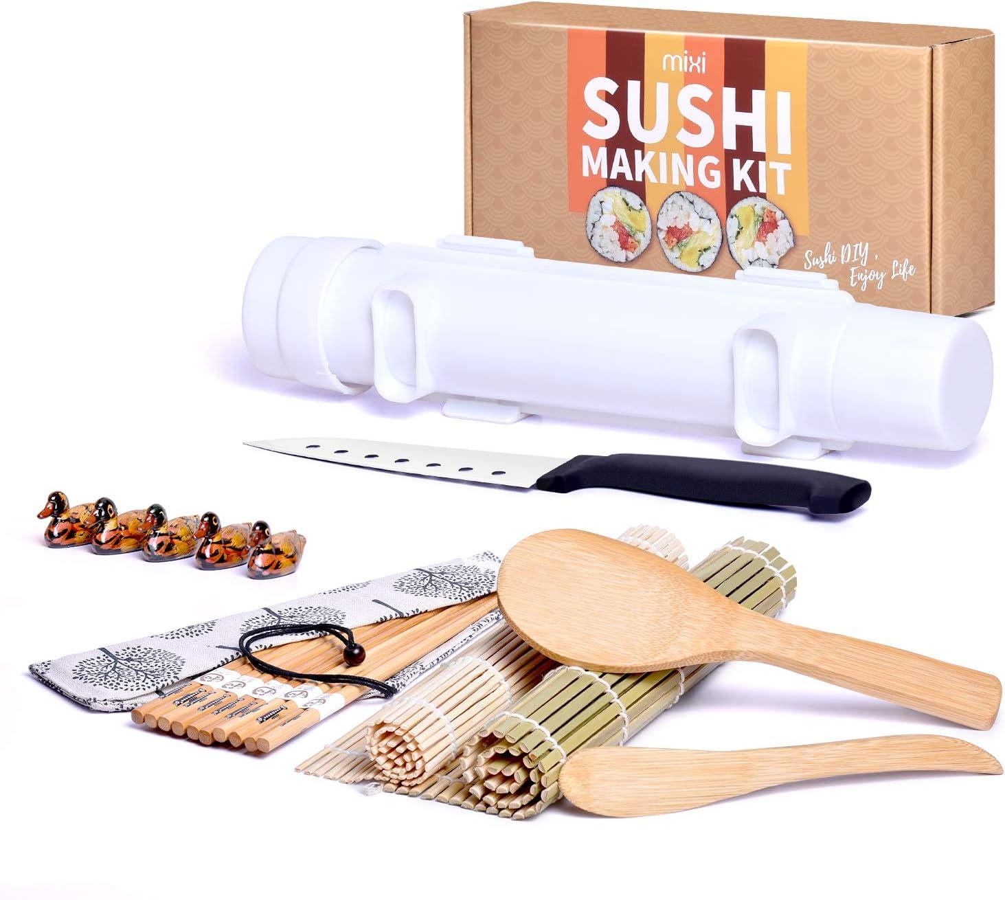 MIXI Sushi Making Kit, 17pcs Sushi Maker Set Include Sushi Mat, Sushi roller, Bamboo Chopsticks, Sushi Bazooka, Rice Paddle, Spreader, Sushi Knife, Holders, Cotton Bag, DIY Kitchen Set for Women Gifts