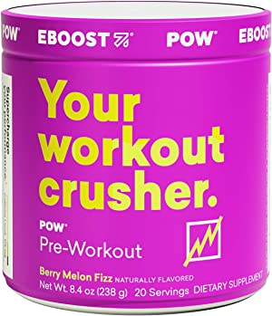 EBOOST POW Natural Pre-Workout – 20 Servings - Berry Melon Fizz - A Pre Workout Supplement for Performance, Joint Mobility Support, Energy, Focus - Men and Women - Non-GMO, Gluten-Free, No Creatine