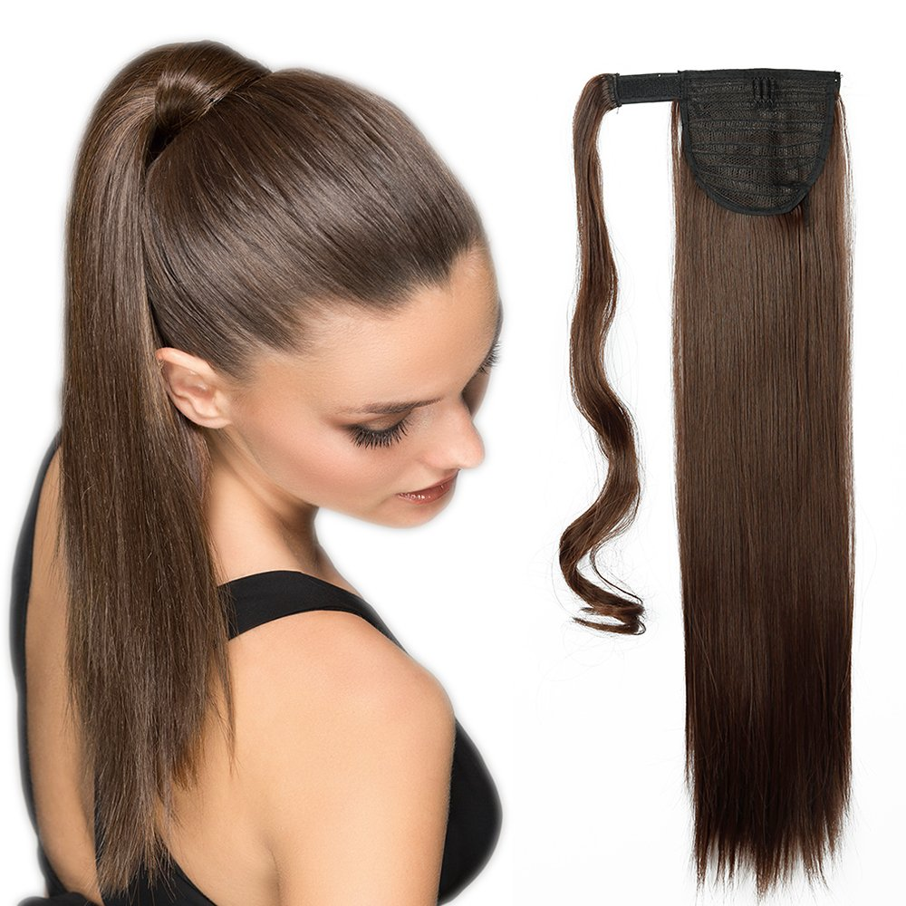 Extension Queue de Cheval Lisse [Wrap Around Ponytail] Effet Naturel au Toucher et Visuel [58CM][Blanc] Lady Outlet Mall