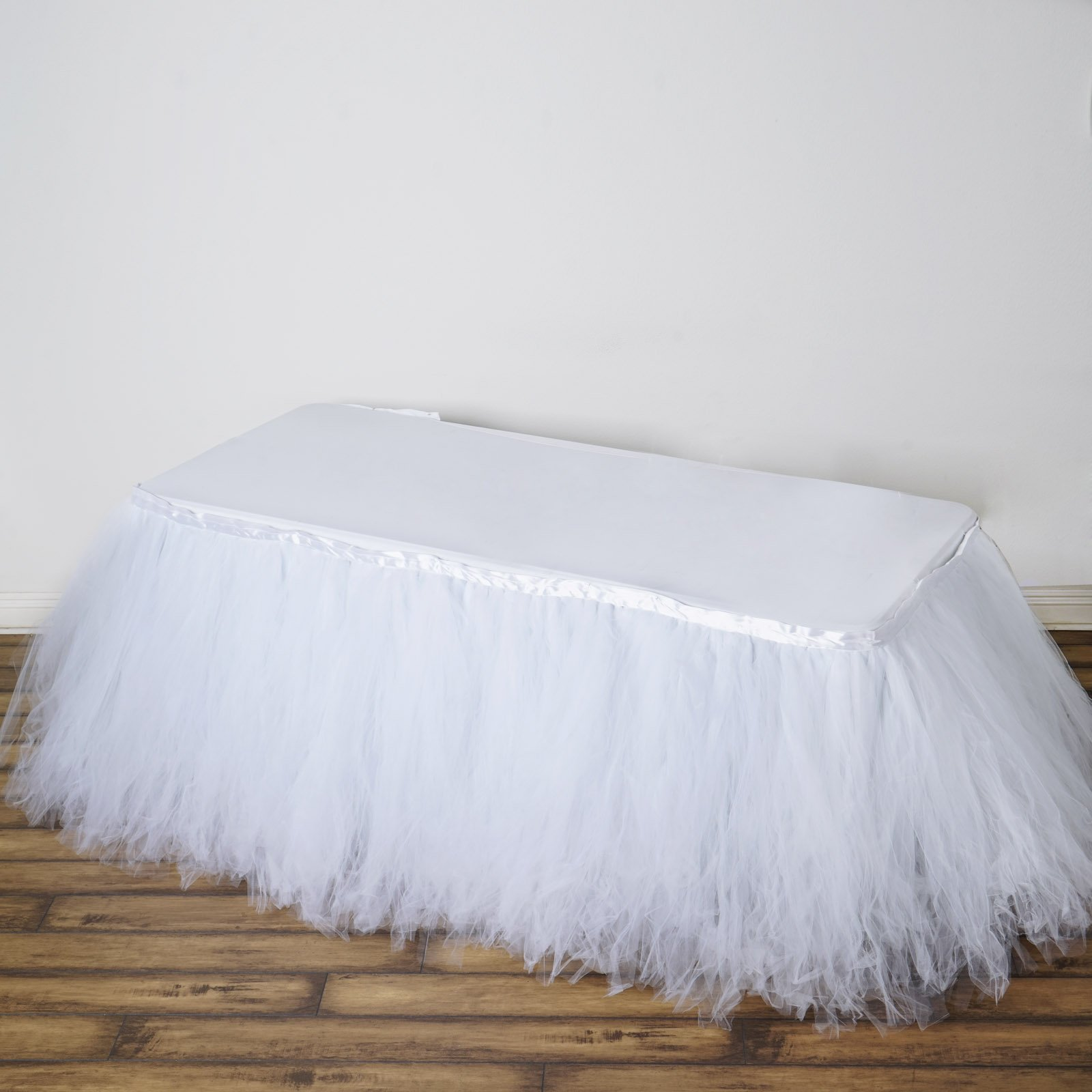 Tableclothsfactory 21ft FULL SIZE 8 Layer Fluffy Tulle - Tutu Table Skirt - White