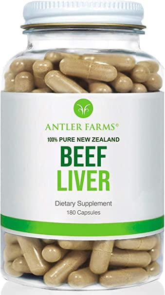 Antler Farms - 100% Pure New Zealand Beef Liver, 180 Capsules, 500mg - Grass Fed, Cold Processed Supplement, Pure and Clean rBGH Free, No Fillers or Additives