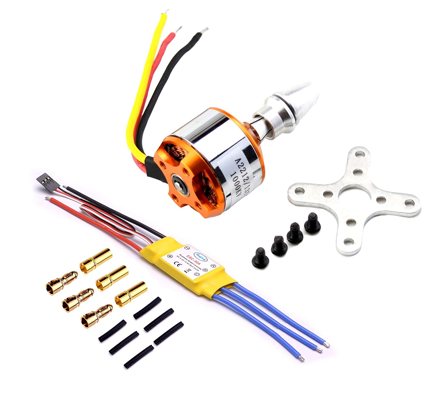 YoungRC A2212 1000KV Brushless Motor+ 30A ESC Electric Speed Controller +  Gold Bullet Banana Plugs and Heat Shrink Tubes for RC Multicopter Quadcopter