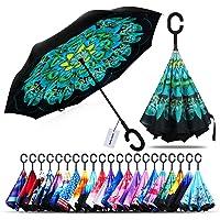 Rüzgar geçirmez Double Layer katlanabilir Ters şemsiye, bile stand Kopf yağmura karşı koruma Auto Reverse şemsiye ile C-Foermigem sap