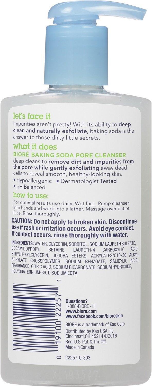 Biore Baking Soda Pore Cleanser, 6.77 Fl Oz Pack of 2
