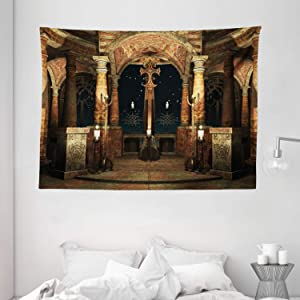 """Ambesonne Gothic Tapestry, Dark Mystic Hall with Pillars and Dome Shrine Building Illustration, Wide Wall Hanging for Bedroom Living Room Dorm, 80"""" X 60"""", Ivory Brown"""