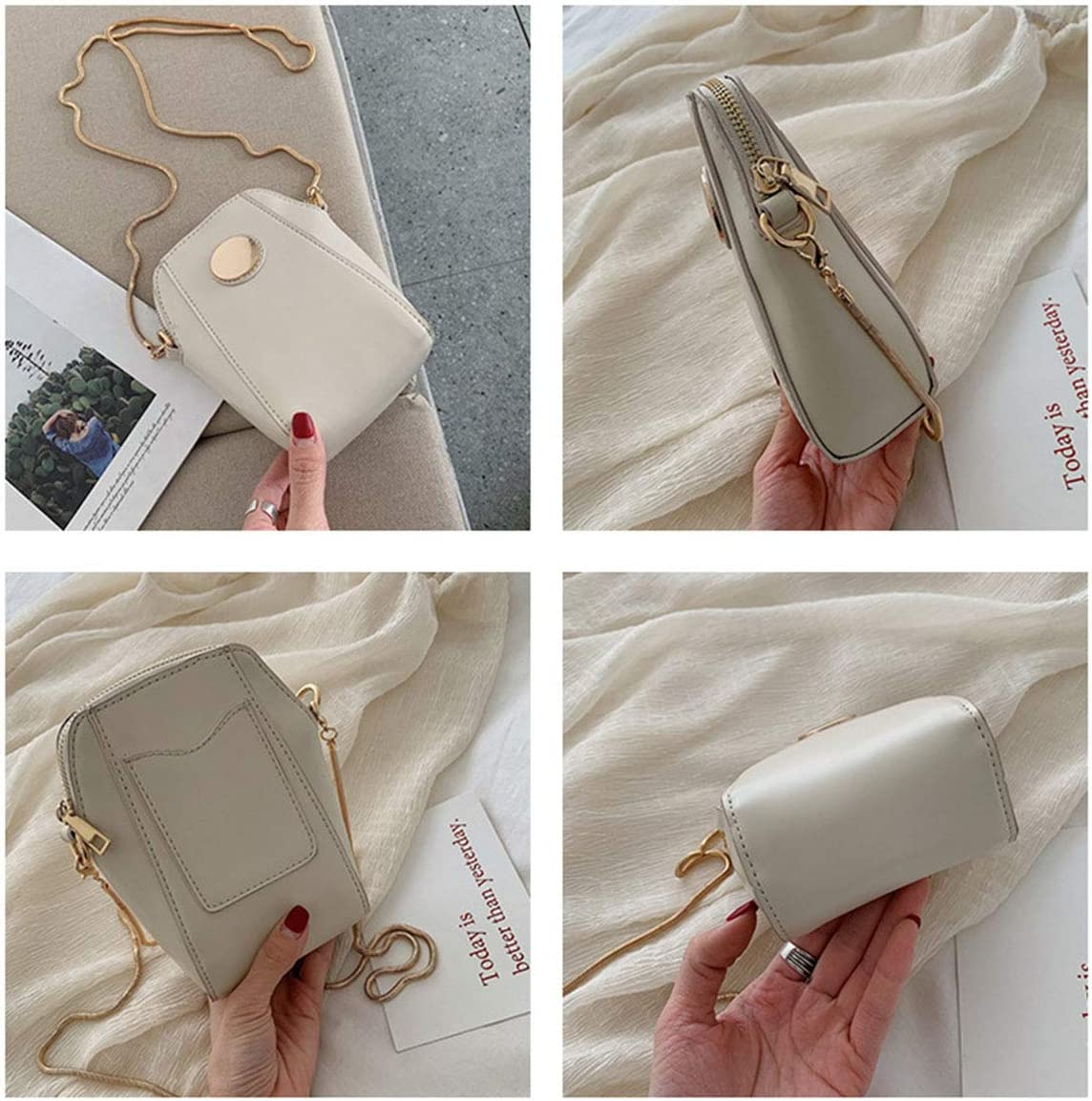 HWX Summer New Mobile Phone Bag 2019 New Wave Small Bag Fashion Wild Simple Womens Korean Version of The Chain Messenger Bag,Beige,10.5176.5cm