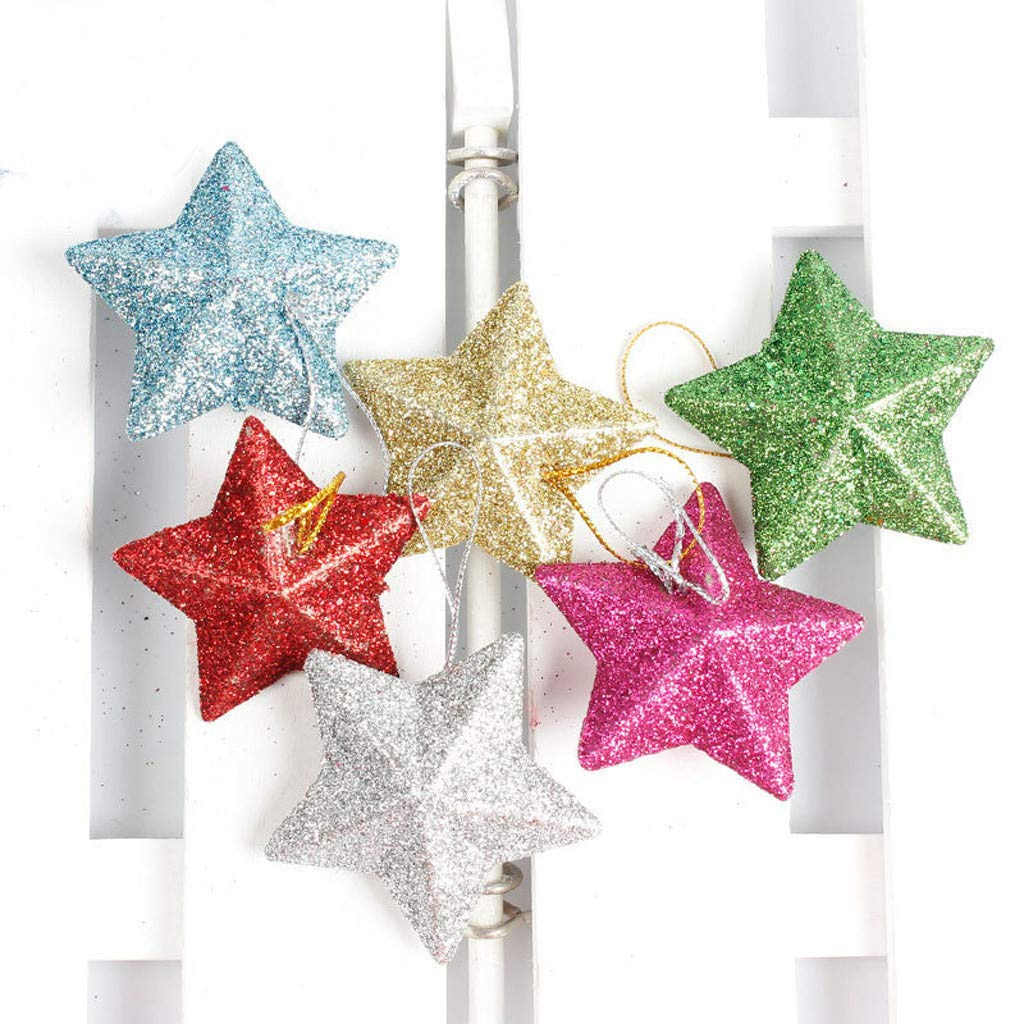 HANANei Romantic Xmas String 6 Pack Hanging Charm Star Party Christmas Tree Decoration