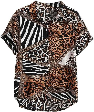 Skang Camisetas Manga Corta Hombre Estampado de Leopardo ...