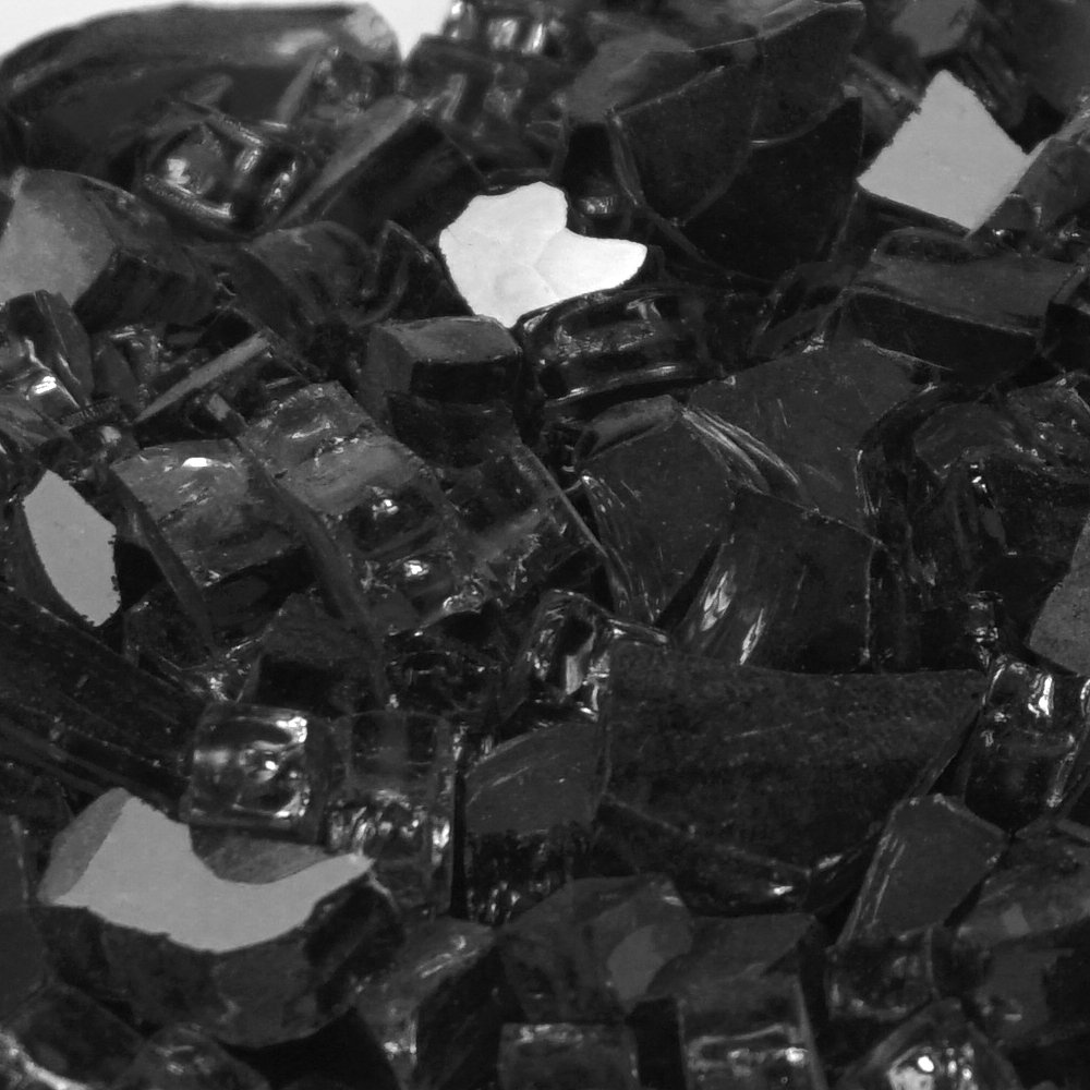 Onyx Black Metallic ''Fire Glass'' - 1/4 Inch Reflective FireGlass - 10 Pounds - Designed for Fire Pits and Fireplaces