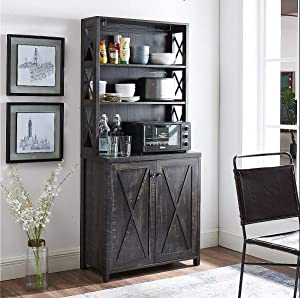Elegant Bar Cabinet | Kitchen Cabinet with Microwave Stand (Charcoal)