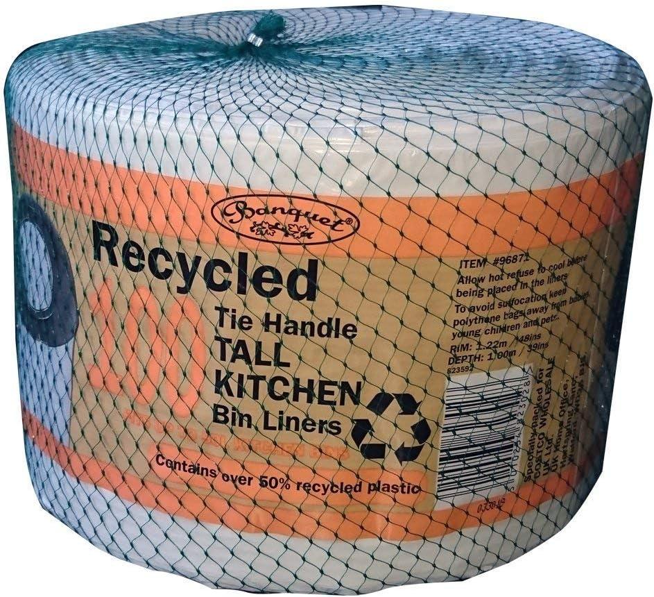 Banquet - 100 Bolsas de Basura de Cocina recicladas, Color Blanco