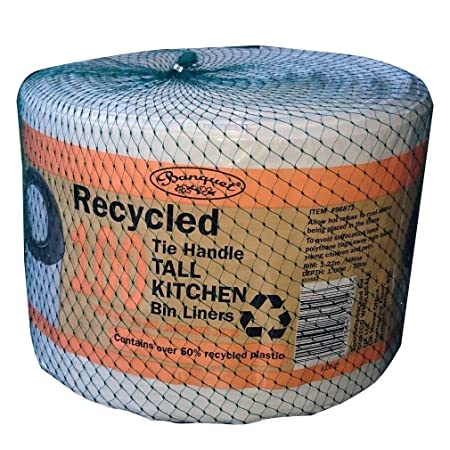 Recycled 100 Tie Handle Tall Kitchen Bin Liners: Amazon.co.uk ...