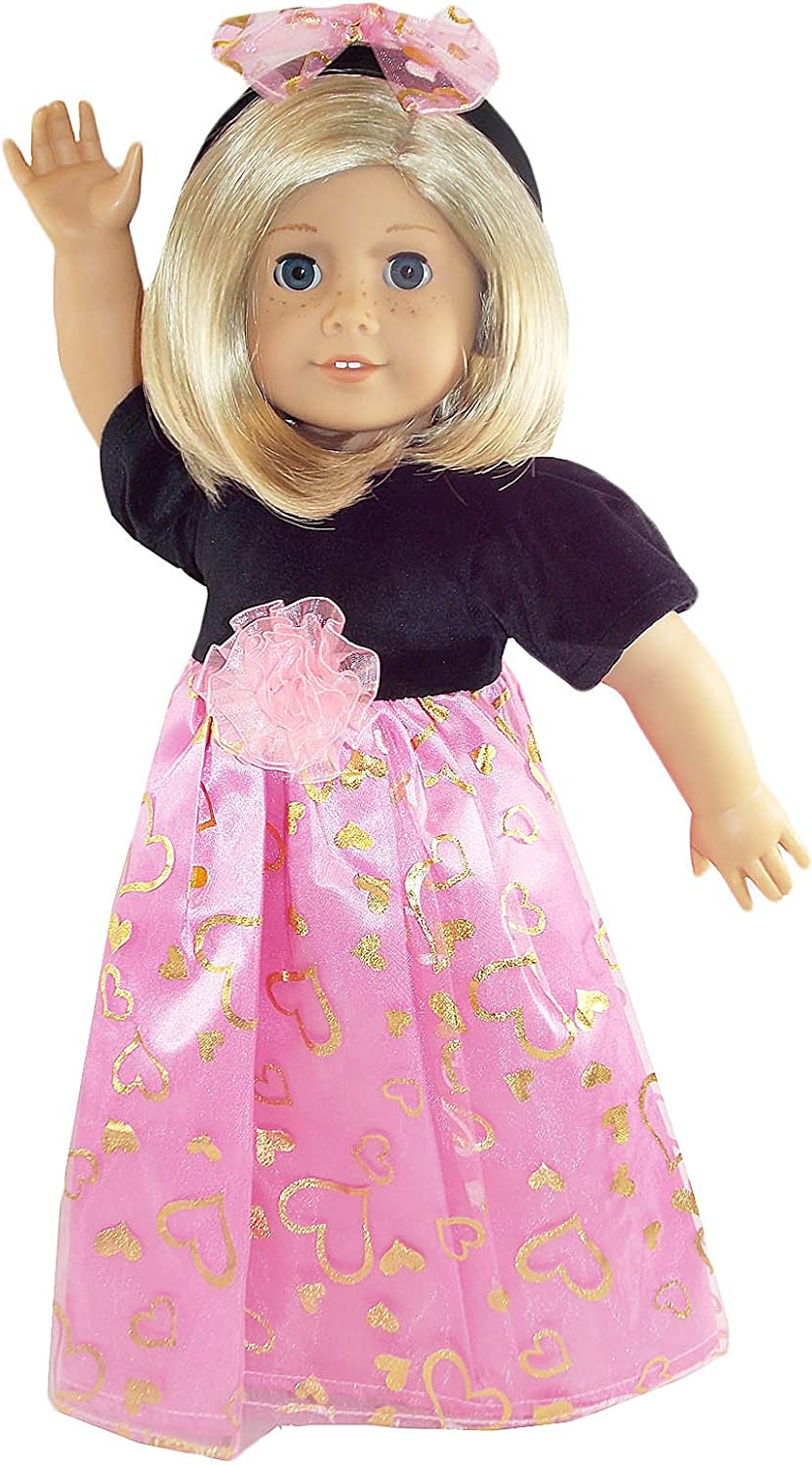 Little Black Dress with Pink Hearts Print for 18 inch Doll