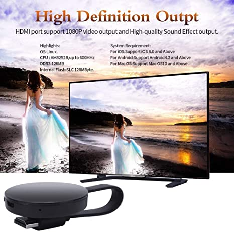 WiFi Inalámbrico Dongle de Pantalla Mini Receptor de 1080P Compartiendo Video HD de proyectores Teléfonos celulares Tableta Soporte Airplay TV Miracast Dongle: Amazon.es: Electrónica